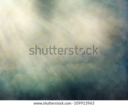 Fog and clouds with streaks of light and yellow-green retro colors.  Image displays a pleasing paper grain and texture at 100%.