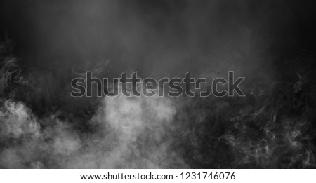 Fog and mist effect on black background. Smoke texture #1231746076