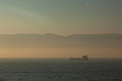 Fog and Ship Izmit Kocaeli Turkey