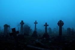 fog cemetery graveyard