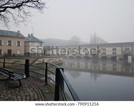 fog, city in fog, houses in fog #790911256