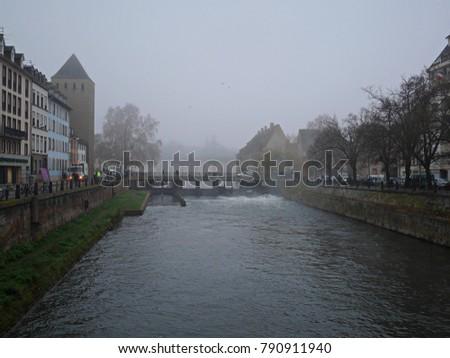 fog, city in fog, houses in fog #790911940