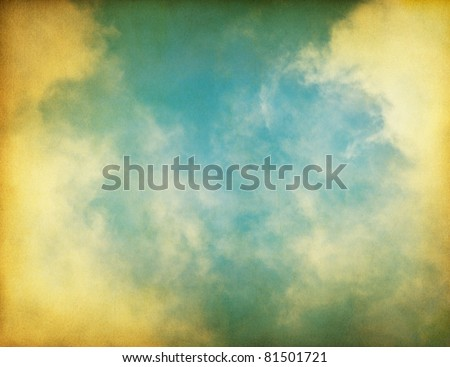 Fog, clouds, and sky on a textured vintage paper background.