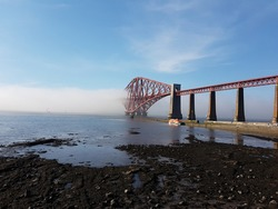 Fog creeping over Forth Bridge, South Queensferry