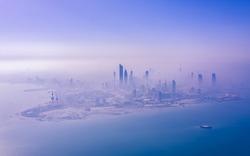 Fog engulfing Kuwait City in the morning