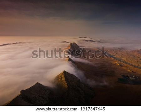 fog , fogy morning between mountains and deser from maliha sharjah desert Zdjęcia stock ©