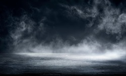 Fog In Darkness - Smoke And Mist On Wooden Table - Abstract And Defocused Halloween Backdrop