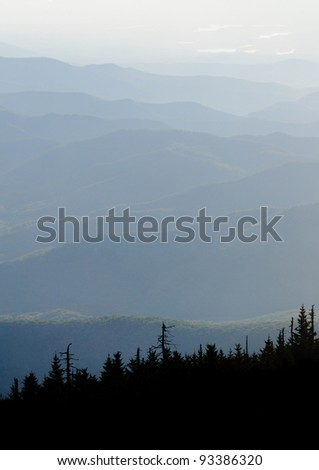 fog in the Appalachian Mountains from Mount Mitchell, the highest point in the eastern United States
