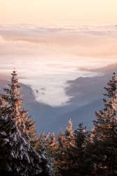 Fog in the mountain valley, view from the Snieznik peak at sunset. A good view from the hiking trail to slightly frosted trees and dense fog lit by the sun's rays against the background of mountains.