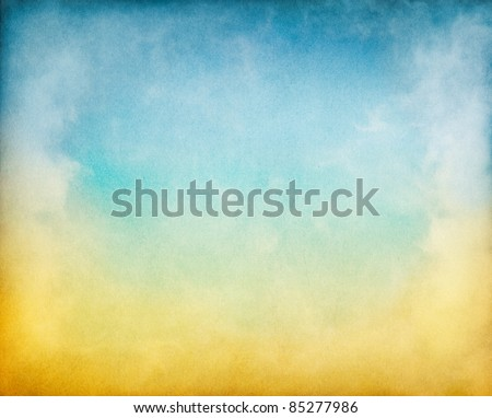 Fog, mist, and clouds with a yellow to blue gradient.  Image has a textured paper overlay and grain pattern visible at 100%.