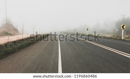 Fog on road, Road vanishing into the fog. #1196860486