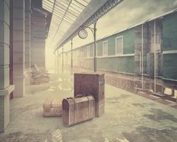 fog on the retro railway  train station .Vintage color style 3D concept