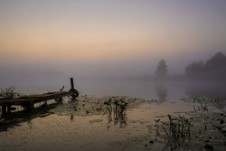 Fog on the river in a very early morning without sun. Fishing bridge for boat and lily with yellow buds in the early morning with thick fog on the river at dawn.