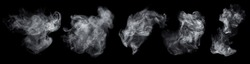 Fog or smoke set isolated on black background. White cloudiness, mist or smog background. Collection of varied white smoke on a black background.