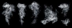 Fog or smoke set isolated on black background. White cloudiness, smoke, mist or smog background.