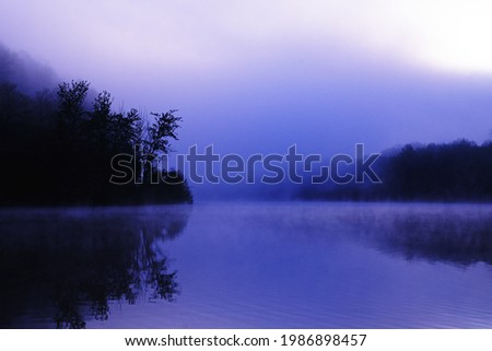 Fog over a lake in Germany in the morning