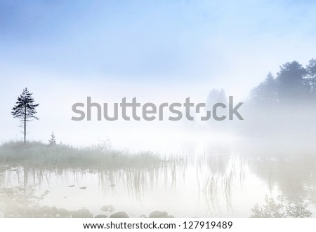 Fog over a Scandinavian lake in early morning