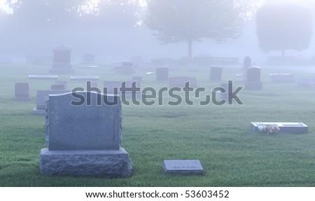 Fog over cemetery #53603452