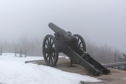 Fog over Monument to Liberty Shipka at Saint Nicholas peak, Stara Planina (Balkan) Mountain, Bulgaria