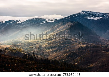 fog over the hillside of mountain with snowy top. stunning landscape in late autumn #758952448