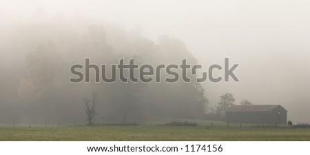 Foggy autumn morning in Cades Cove - Smoky Mountains Nat. Park, USA