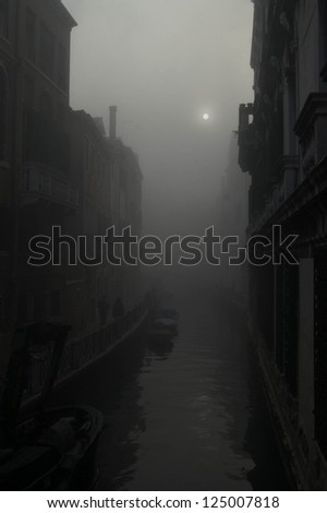 Foggy Canal in Venice