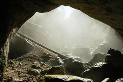 Foggy cave entrance, Romania