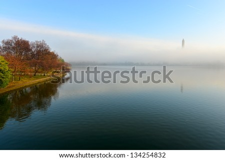 Foggy Cherry Blossom and Washington Monument, Washington DC, United States