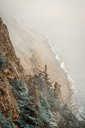 Foggy cliff view of the Oregon Coast
