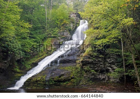 Foggy Dingman's Falls at Delaware Water Gap National Recreation Area in Pennsylvania