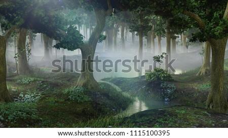 foggy fantasy forest with ponds, 3d landscape illustration