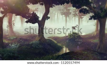 foggy fantasy forest with ponds, 3d landscape render