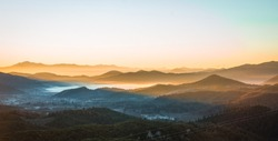 Foggy landscape at sunset in  mountains of Greece, Peloponnese