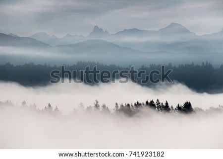 Foggy layered mountain landscape in Fort Langley, British Columbia, Canada Foto stock ©