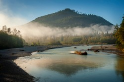 Foggy Morning Along the Nooksack River. Atmospheric view of this beautiful river as fog creeps over the tree line and the sun illuminates the trees and riverbend.