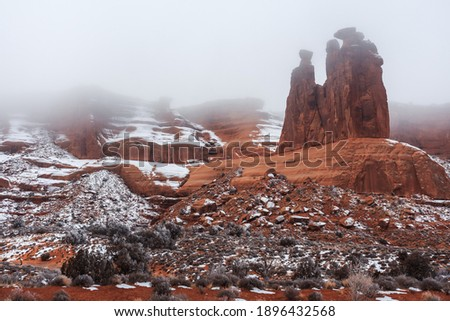 Foggy Morning in Arches National Park, Utah
