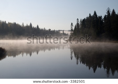 Foggy morning on the Mastigouche Nature Reserve