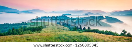 Foggy morning panorama of mountains valley. Splendid summer sunrise in Carpathian mountains, Rika village location, Transcarpathian, Ukraine, Europe. Beauty of nature concept background. #1260805345