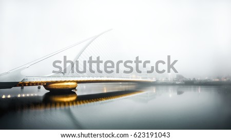 Foggy morning Samuel Beckett Bridge