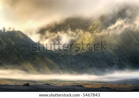 foggy mountain at bromo, indonesia