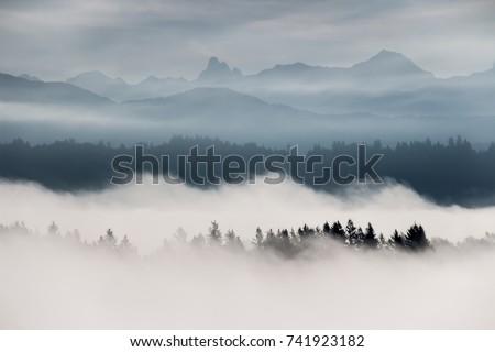 Foggy mountain landscape in British Columbia, Canada