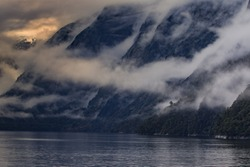 foggy mountain scene in milfordsound fiordland national park soutn island new zealand important traveling desination
