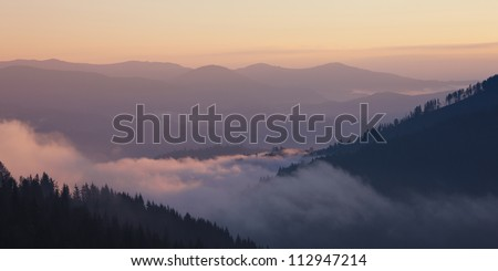 Foggy mountain valley sunrise. Great Smoky Mountain National Park, Tennessee, USA