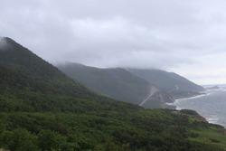 Foggy Mountains on the Cabot Trail facing the Atlantic Ocean in Cape Breton, Nova Scotia