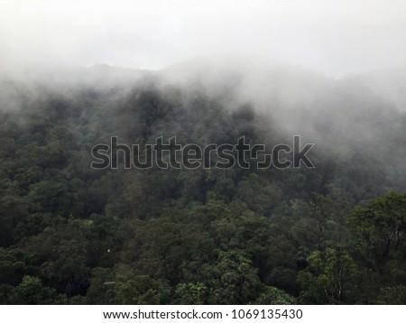 Foggy Mountainside in Ba Na Hills, Vietnam  #1069135430