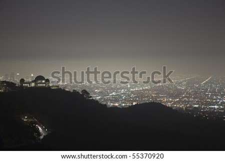 Foggy night in the hills above Hollywood, California.