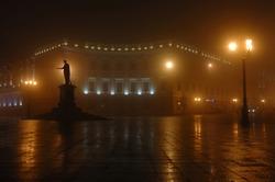 Foggy night on Primorskii Boulevard with monument dedicated to Duke de Richelieu ,Odessa,Ukraine
