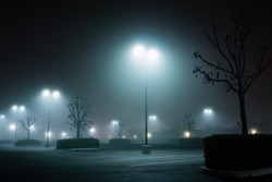 foggy night parking lot