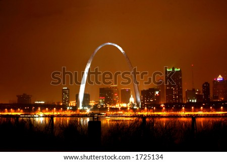 Foggy night view of St. Louis skyline
