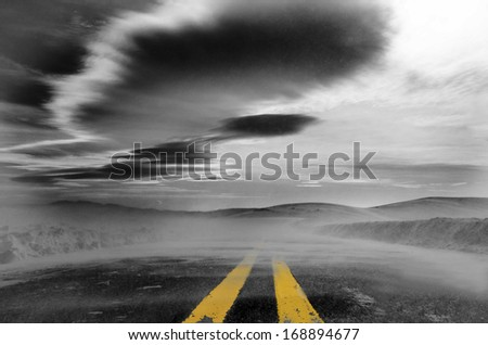 Foggy road, Road to Perdition, Winter weather, Dark road
